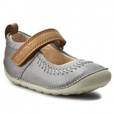 Clarks Félcipő CLARKS - Little Atlas 261234566 Light Grey Leather