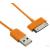 4world USB 2.0 kábel iPad / iPhone / iPod transfer/töltőhöz 1.0m narancssárga (07938-OEM)