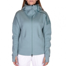 Adidas végig cipzáros pulóver ZNE Hoody Vapste, női, zöld, pamut, L