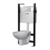 LIV FIX fali WC szett, szárazépítésű WC szerelőelem + Selenite Eco fehér nyomólap, Vereg fali WC
