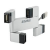 4world USB- Hub Rectangle 4-ports ezüst (09195)