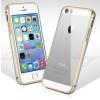 iPhone 5 5S SE aluminium bumper átlátszó hátlappal (Ezüst)