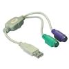 DELOCK USB A -> 2db PS/2 M/F adapter szürke