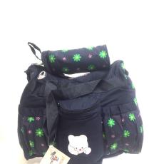 Csakcsajok Sötétkék virágos kismama táska, macis díszitéssel