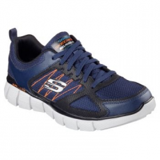 Skechers EQUALIZER 2.0 ON TRACK férfi sportcipő, Navy&Black/Orange, 43 (51532-NVOR-43)