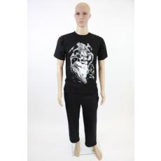 Férfi mintás fekete pamut póló