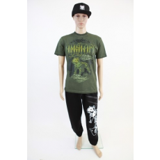 Amstaff zöld, feliratos  férfi póló