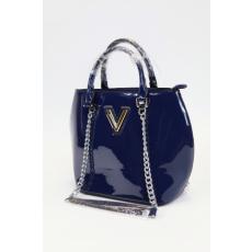 Kék színű lakk alkalmi női táska