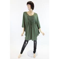 Egyedi szabású, denevér ujjas női zöld felső / ruha