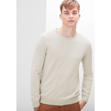 S.OLIVER Férfi kötött pulóver kerek nyakkal bézs
