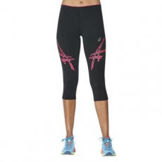 Asics Stripe Tight női futónadrág, Black/Pink, XS (141231-0688-XS)