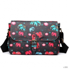 Miss Lulu London E1656NEW-Miss Lulumattte oilcloth dorable virágos táska elephant print fekete /kac