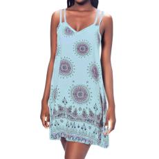 Kék criss cross mini boho ruha