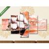 Képáruház.hu Premium Kollekció: Ship in ocean with white sails, oil painting. sunset(135x70 cm, S01 Többrészes Vászonkép)