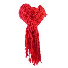Lyukacsos kötött sál, piros