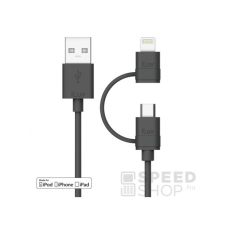 iLuv Combo 2in1 Lightning - microUSB adatkábel, fekete kábel és adapter