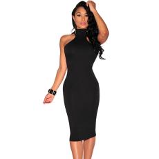 Fekete testresímuló mini ruha
