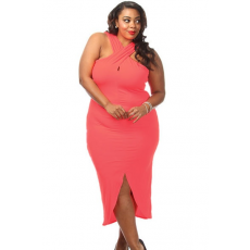 Pink Plus Size jersey ruha