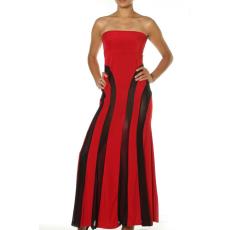 Csakcsajok Fekete-piros csíkos váll nélküli maxi ruha