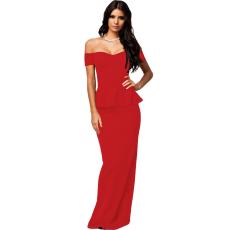 Elegáns peplum hatású piros maxi ruha