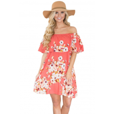 Rózsaszín ,virágos fodros ,pánt nélküli nyári ruha