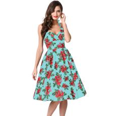 Retro hatású,zöld virágos ruha