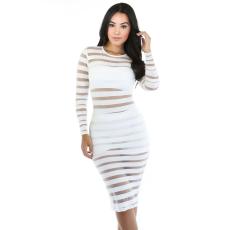 Fehér csíkos midi ruha