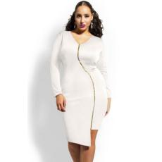 Fehér Szexi cipzáras térdig érő hosszú ruha