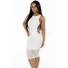 Fehér bordázott hosszú ruha