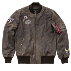 Alpha Industries MA-1 VF Flying Tigers Leather - vintage brown marhabőr
