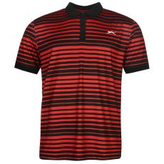 Slazenger Fine Stripe férfi galléros póló fekete XL