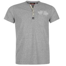 Pierre Cardin Marl Henley  with Pocket férfi póló szürke S