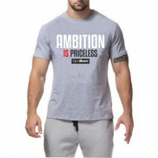 GymBeam Clothing Póló Ambition Is Priceless Grey White - GymBeam