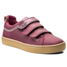 Clarks Félcipő CLARKS - Brill Sky Jnr 261288706 Plum Leather