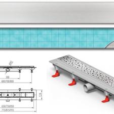 Mofém MOFÉM Linear MLP-850 KF Zuhanyfolyóka minta nélküli ráccsal kád, zuhanykabin