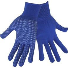 Extol kötött kesztyű, kék, PE, fehér PVC pöttyökkel, méret: 9'
