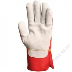 Euro Protection Bőrkesztyű, szürke vastag marhahasíték/piros vászon -10