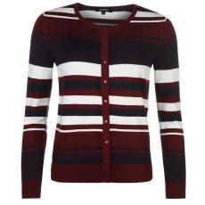 Full Circle női kardigán - Full Circle Stripe Button Cardigan - burgundi