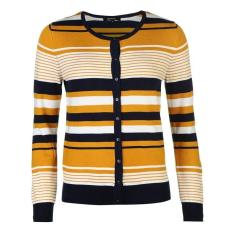 Full Circle női kardigán - Full Circle Stripe Button Cardigan - mustár