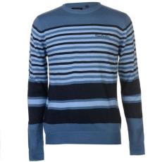 Pierre Cardin Stripe férfi pulóver, kék - Pierre Cardin Stripe Knit Jumper Mens