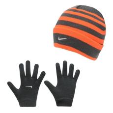 Nike gyerek sapka + kesztyű szett - szürke/narancs - Nike Snow Stripe Hat and Gloves Set