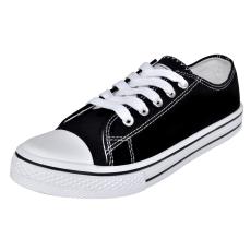 vidaXL Klasszikus női alacsony szárú fűzős vászon tornacipő méret 37 fekete