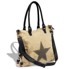 vidaXL Valódi bőr és vászon bevásárló táska csillaggal bézs