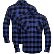 vidaXL 2 db kockás férfi ing méret L kék-fekete