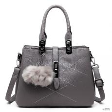 Miss Lulu London E1751 - Miss Lulu több rekesz Pom Pom válltáska táska szürke