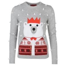 Star karácsonyi női pulóver - Star 3D Xmas Knitted Jumper - szürke
