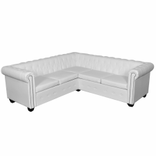 5 személyes fehér műbőr Chesterfield kanapé bútor