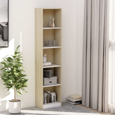 5-szintes fehér-sonoma forgácslap könyvszekrény 40x24x175 cm bútor