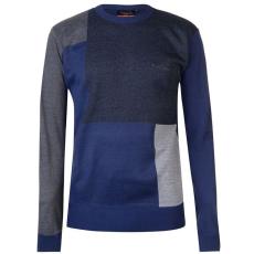 Pierre Cardin férfi pulóver - Pierre Cardin Block Knit Jumper Mens Blue
