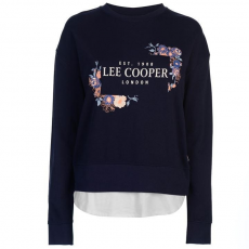 Lee Cooper női pulóver - Lee Cooper Layer Logo Sweater Ladies Navy